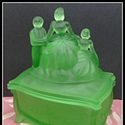 SALE Vintage Green Satin Glass Martha Washington Trinket Box Humidor