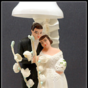 Vintage Chalk Wedding Cake Topper Bride Groom C 1950s Bell Flowers