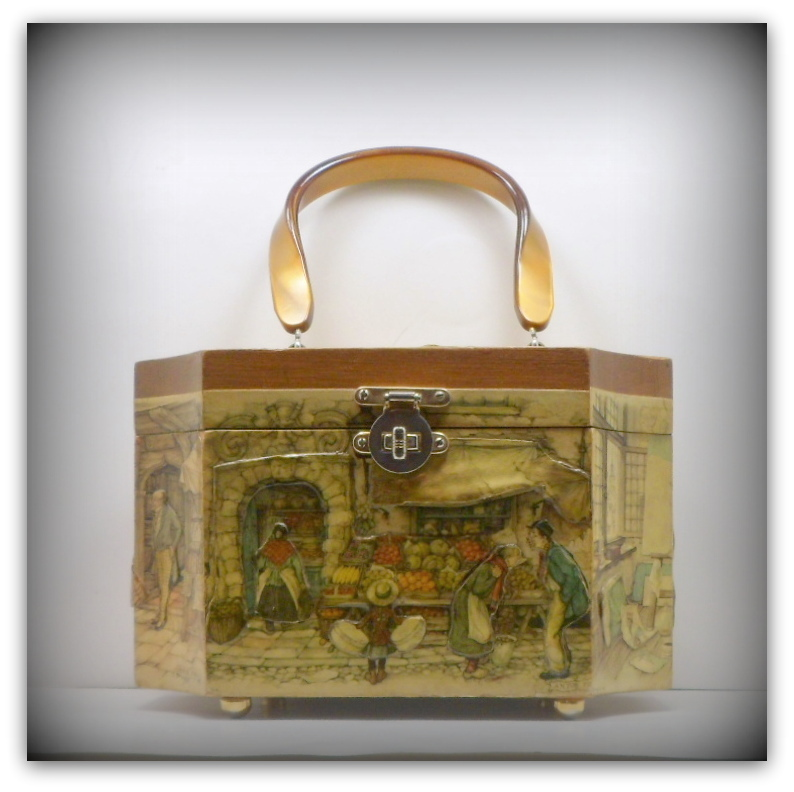 Vintage Anton Pieck Decoupage Octagon Purse Outdoor Market