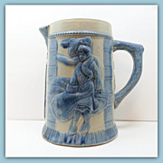 Antique Stoneware Pitcher Fannie Flagg Robinson Clay Blue Grey Tankard