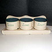 Vintage Dutch Enamel Laundry Rack Containers Cream Green Enamelware