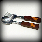 Childs Fork Spoon Bakelite Inlaid Dog Flatware