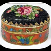 SALE Vintage Painted Cloisonne Enamel Pill Box Petit Point