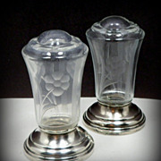 Vintage Sterling Silver Etched Glass Shakers 1930s Salt Pepper