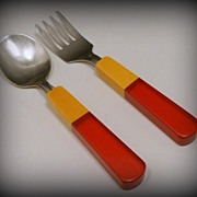 Vintage Childs Two Tone Bakelite Lucite Fork Spoon Set