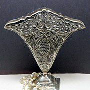SALE Vintage White Metal Embossed Fan Vase Art Nouveau Style