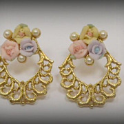 Vintage 1928 Porcelain Gold Tone Pierced Earrings