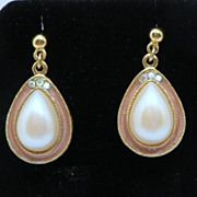 Vintage 1928 Enamel Pearl Pierced Earrings