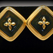Vintage Liz Claiborne Navy Blue Enamel Gold Tone Pierced Earrings