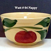 Watt Pottery 3 Leaf Ribbed 04 Apple Nappy Yellowware Ovenware
