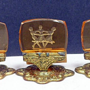 Vintage Intaglio Czech Glass Place Card Holders Three Graces Set 12