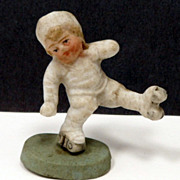 Vintage German Bisque Snow Baby Skater Figurine Action Figurine