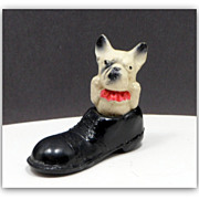 SOLD Vintage Plaster Filled Celluloid Dog Carnival Prize Japan Bulldog Toy