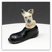 Vintage Plaster Filled Celluloid Dog Carnival Prize Japan Terrier Toy