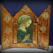 SOLD Vintage Italian Florentine Praying Madonna Triptych Filippo Lippi Religious Icon