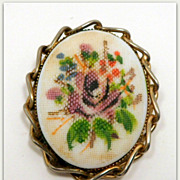 Vintage Painted Porcelain Brooch Gold Tone Flowers Bouquet