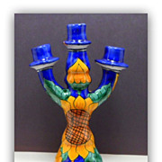 Vintage Talavera Majolica Candelabra Sunflower Castillo Mexican Pottery