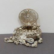 Vintage 900 Silver Filigree Rosary 800 Silver Box Italy
