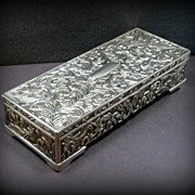 SOLD Vintage Godinger Jewelry Box Embossed Silver Plate Jewelry Casket