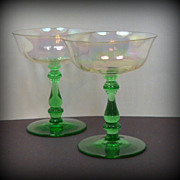 2 Tiffin Iridescent Optic Champagne Sherbet Glasses Green Stems Stemware