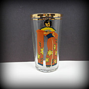 Vintage Risque Peek A Boo Beverage Glass Geisha Barware