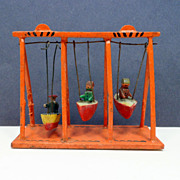 Vintage Christmas German Penny Toy Miniature Boat Swing Putz Erzgebirge