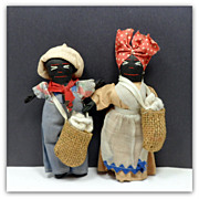 SOLD Vintage Male Female Black Cloth Island Dolls Original Clothing Ethnic Dolls