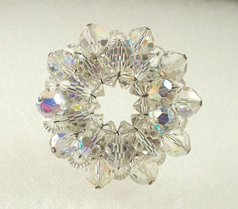 Vintage AB Crystal Brooch