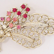 SALE Vintage Exquisite Red, Pink and  Clear Rhinestone Brooch