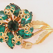 SALE Vintage Flower Green Rhinestone  Brooch
