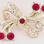 SALE Vintage Red and Clear Rhinestones Brooch