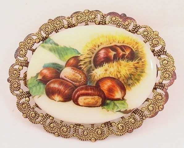 Vintage Signed Western Germany Chestnuts Brooch