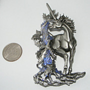 SALE Vintage JJ Big Mystical UNICORN Brooch