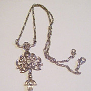 REDUCED Lovely Sparkling Dainty Rhinestone Flower Pendant