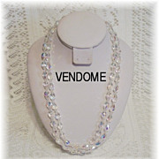 SALE Magnificent Vendome Tear Drop Crystal Double Strand Necklace