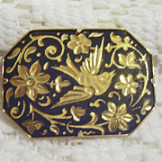REDUCED Beautiful Damascene Bird Brooch