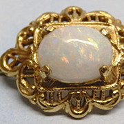 REDUCED Vintage Opal Filigree Goldtone Brass Stick Pin