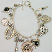Vintage Unique, One of a Kind Bracelet! Crafted of Vintage Charms and Earrings!