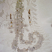 SALE Napier Clear, Frosted and Goldtone Long Beaded Necklace