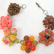 SALE Vintage  Cluster Bead Earring Bracelet Oranges Flower Brown  Link Bracelet