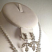 REDUCED Stunning Clear Rhinestone Necklace Earrings  Demi Set
