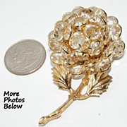 SALE Stunning Vintage Clear Bezel Set Crystal Flower Brooch