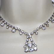 SALE Vintage Clear Rhinestone Necklace