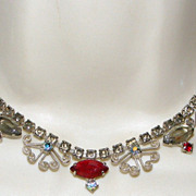 SOLD Vintage Red Gray and AB Rhinestone Necklace