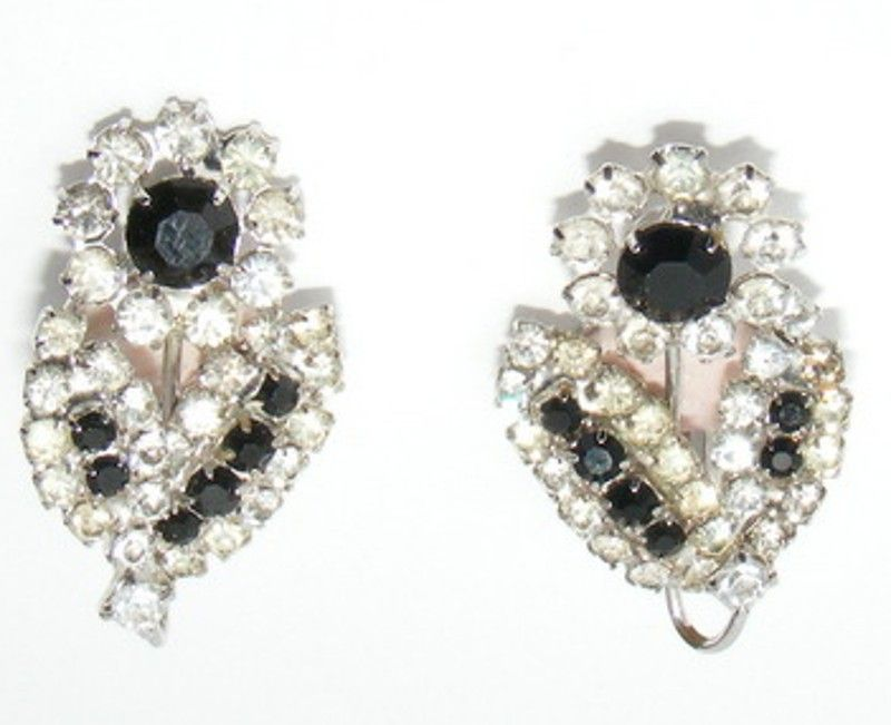 Vintage EMMONS Black and Clear Rhinestone Flower Earrings