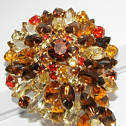 SALE Stunning Large Vintage Thick Rhinestone Brooch Fall Colors
