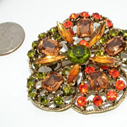 Vintage Fall Colors Rhinestone Brooch