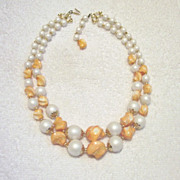 SALE Old Stock - Unworn - Beautiful Double Strand Necklace with Beautiful White Satin Faux Pea