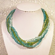 SALE Sea Shore Blues and Greens Multi Glass Necklace