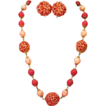Vintage Pink Bead Chunky Woven Bead Necklace Set